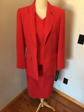 Beautiful Red Kasper 3 Piece Skirt Suit Size 10 NWT