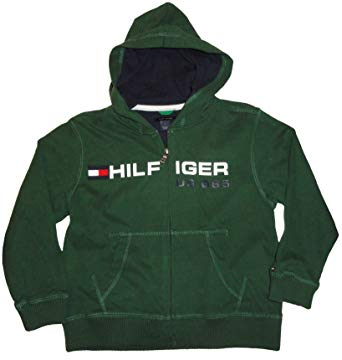 Boyu0027s Tommy Hilfiger Hooded Sweat Jacket Hoodie Green Size 5