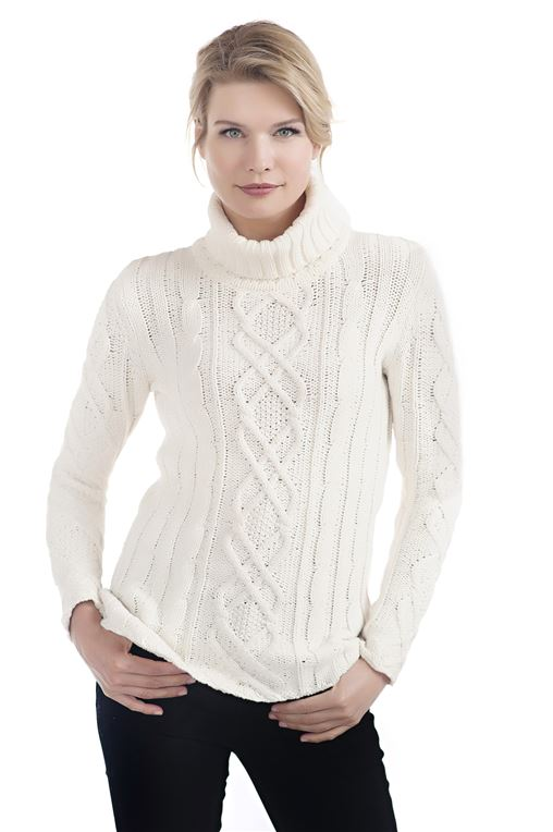 Ivory Cable Knit Turtleneck Sweater - 1 ...