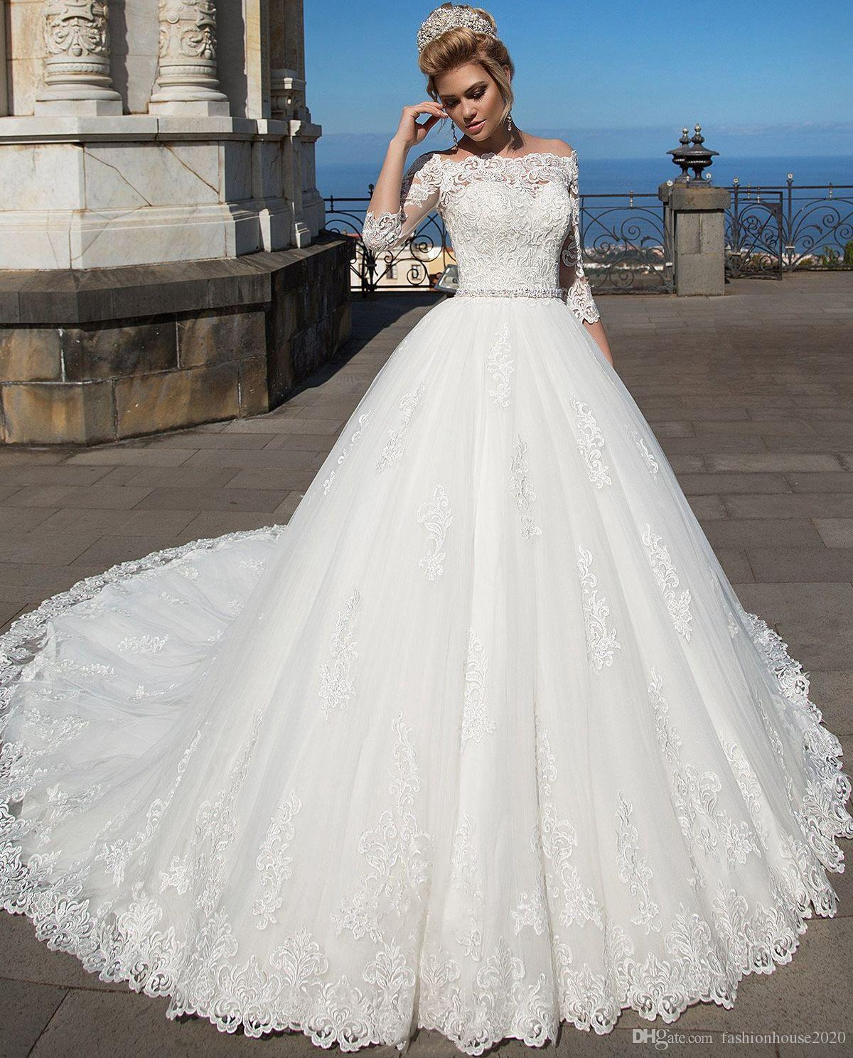 2018 Cheap Elegant White Lace Ball Gown Wedding Dresses With Sleeves Off  The Shoulder Princess Plus Size Wedding Dress Bridal Gowns Custom Wedding  Dress ...