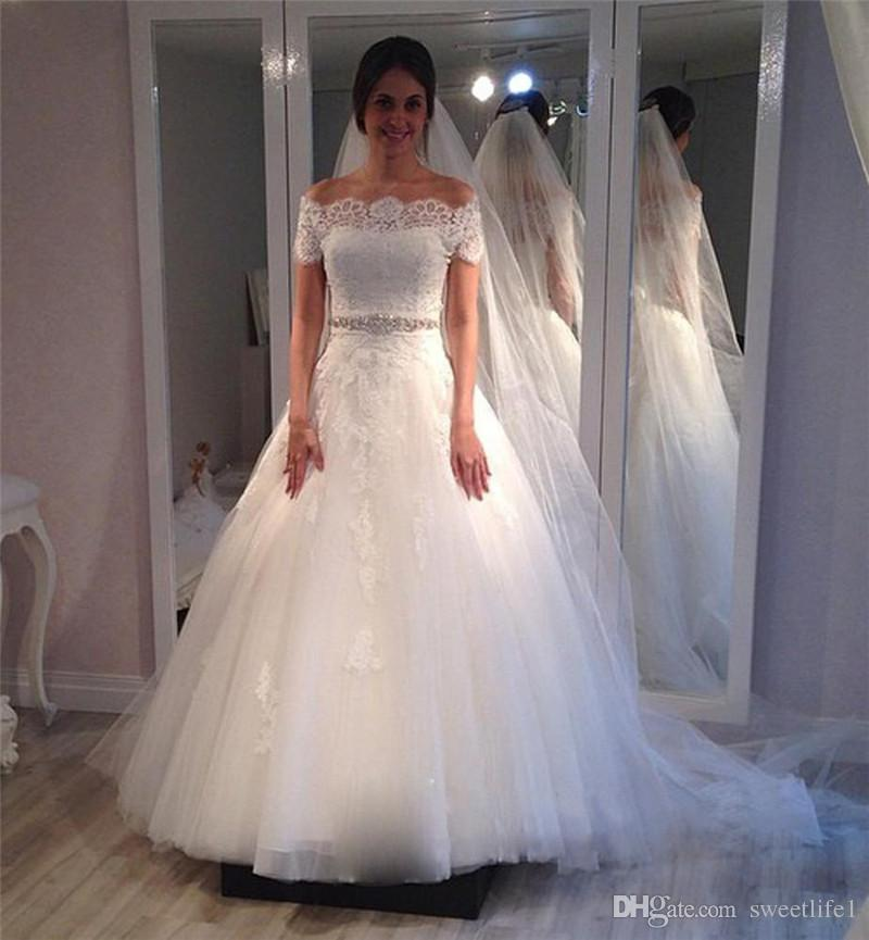 Discount Romantic Princess Wedding Dresses Short Sleeve With Crystals Sash  Elegant White Bridal Gowns Vestido De Casamento Dresses Online Shopping  Gold ...