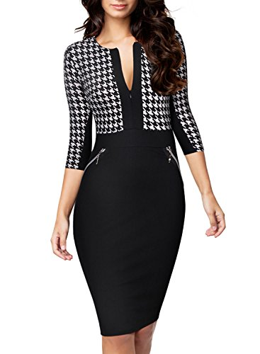 Miusol Women's Business Hounds-Tooth Print Work Bodycon Pencil Dress - Women  Dresses Online