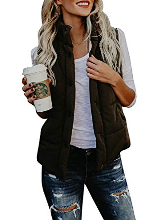 FISACE Womenu0027s styligh Packable Down Compact Vests Outdoor Puffer Vest  Sportswear Jacket (Small, Army
