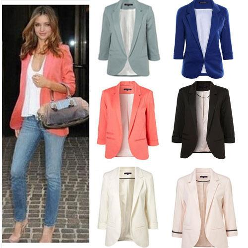 Womens Winter Jackets And Coats Candy Color Solid Slim Suit Blazer Coat  Jacket Long Sleeve Slim Jacket Winter Coat Women Jacket Dress Casual Jacket  From ...
