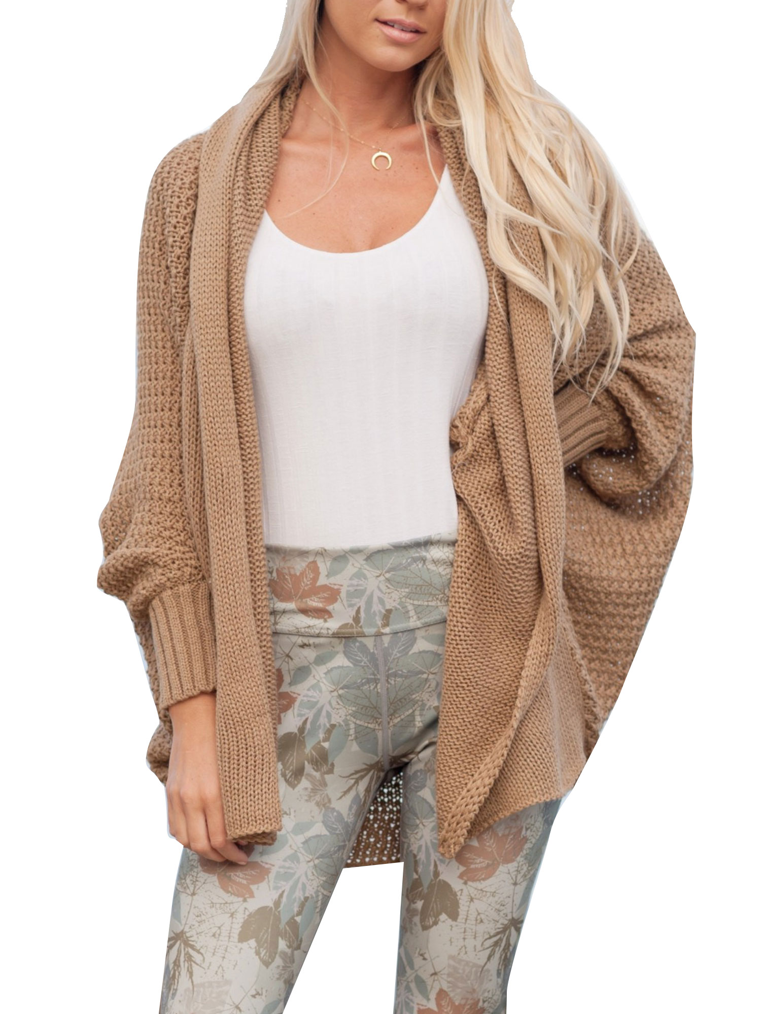 Women Winter Baggy Cardigan Coat Top Chunky Knitted Batwing Sleeve  Oversized Sweater Jumper Loose Open Front