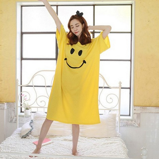 Women nightgowns sleepshirts 2017 women sleepwear robe summer nightgown  nightdress casual home dress womens cotton nightgown