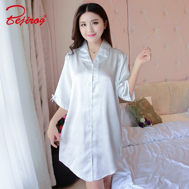 Bejirog 7 Colours Nightgowns Women Sleepshirts Silk Sleepwear Female  Nightdress Satin Lingerie Sexy Nightwear Summer Lady