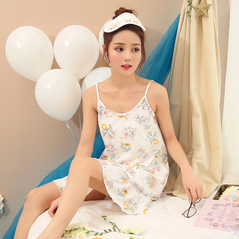 Summer Style Women Sleepshirts Ladies Sexy Lingerie Female Sling Sleepwear  Comfortable Cotton Nightgowns Cute Girl's Nightdress