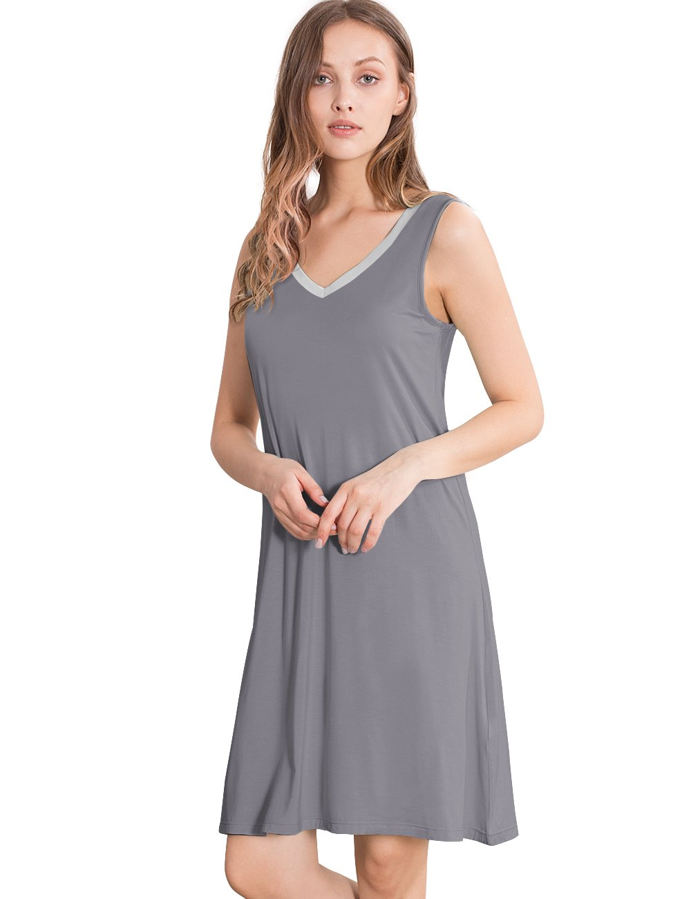 GYS Womens Bamboo Viscose Sleeveless V Neck Nightgown