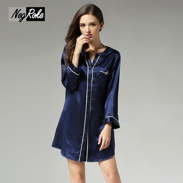 Summer sexy women sleepshirts 100% silk quality Pure color nightgowns for  womens noble elegant ladies
