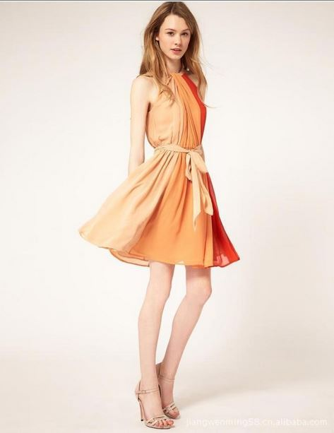 ... Women Summer Fashion Patchwork Pleated Lady Dress (Freeship Worldwide)  - Thumbnail ...