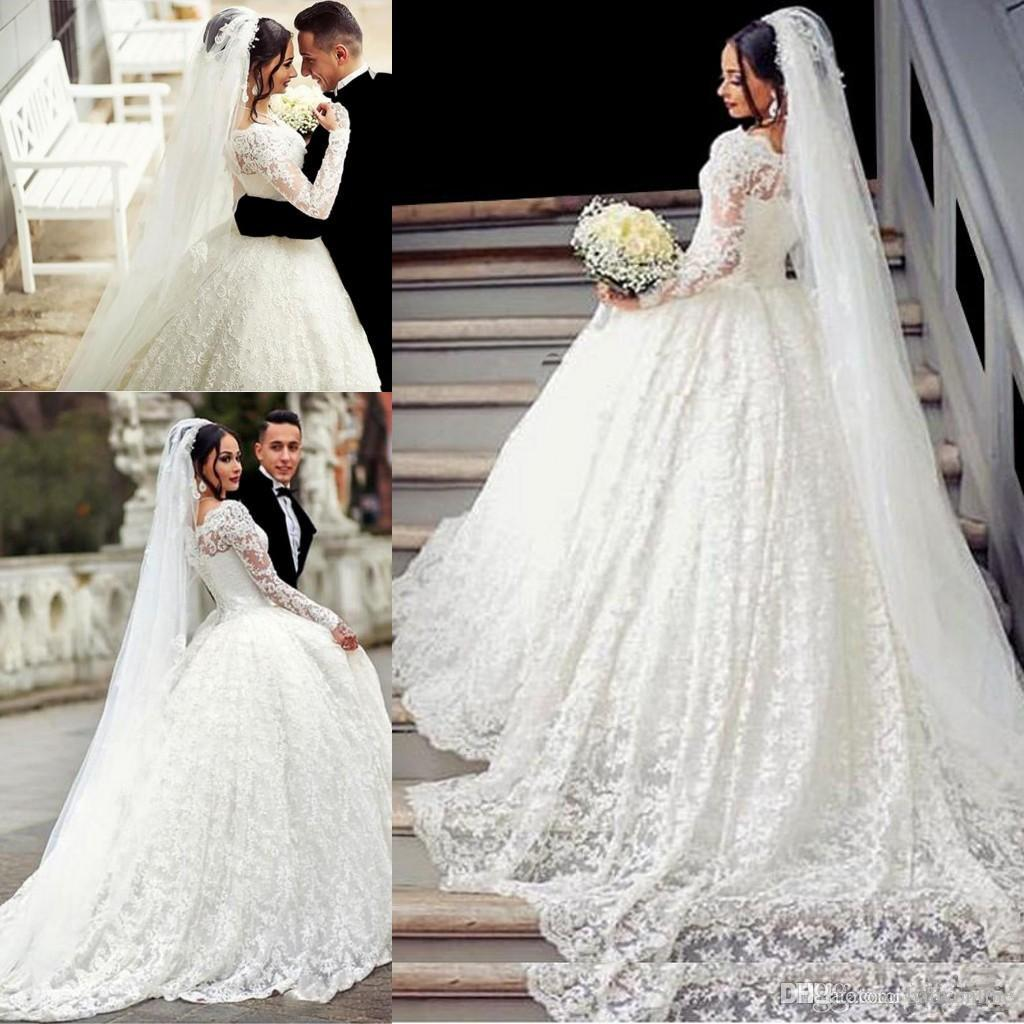2017 Ball Gown Lace Wedding Dress Arabic Style Appliques Off The Shoulder  Sheer Long Sleeves Wedding Dress With Long Train Bridal Gowns Ball Dress  Ball Gown