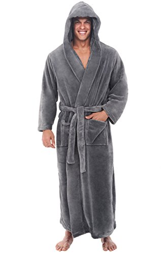 Del Rossa Fleece Hooded Bathrobe