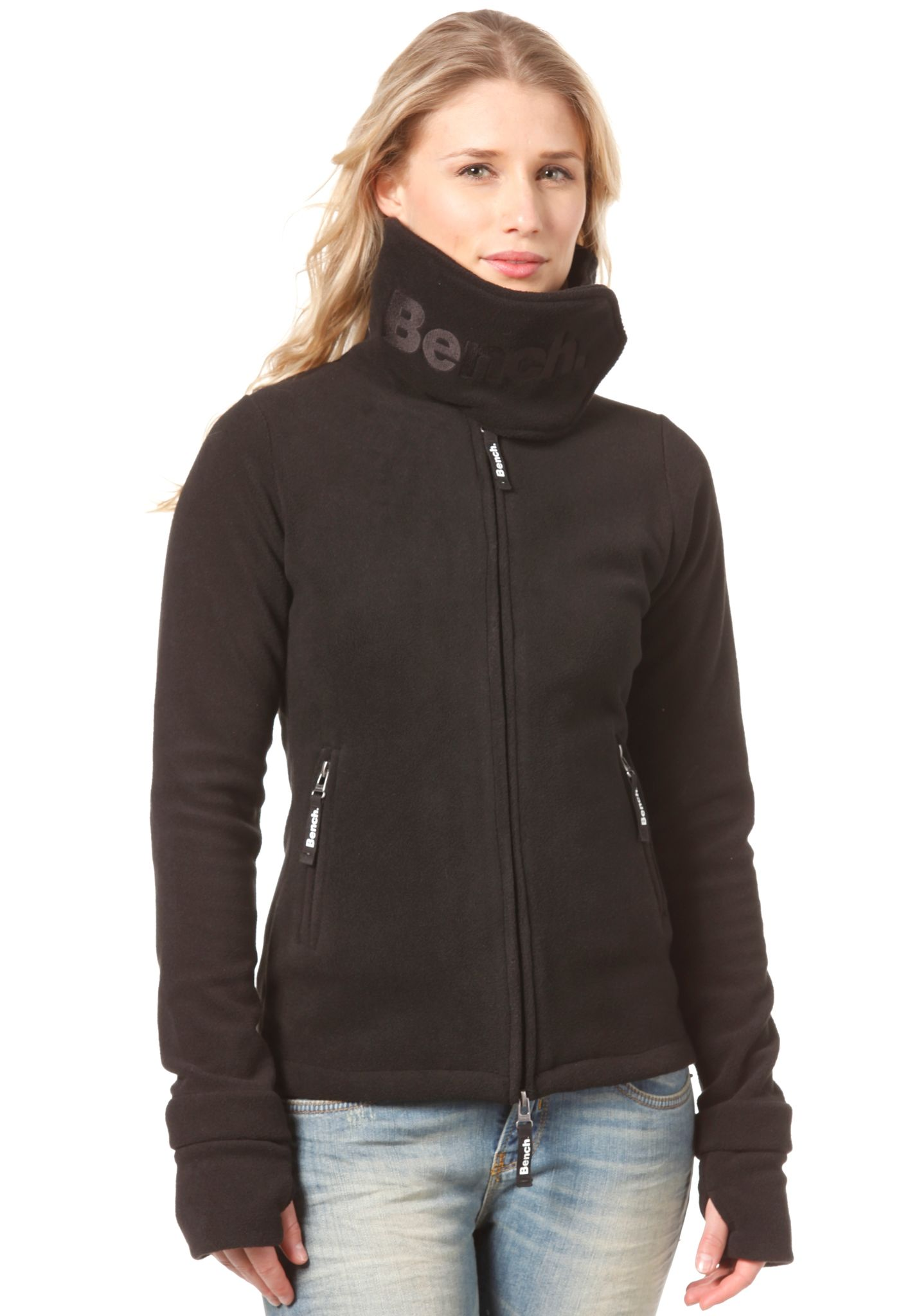 BENCH Funnel Neck Fleece Jacket - Sweat Jacket for Women - Black - Planet  Sports