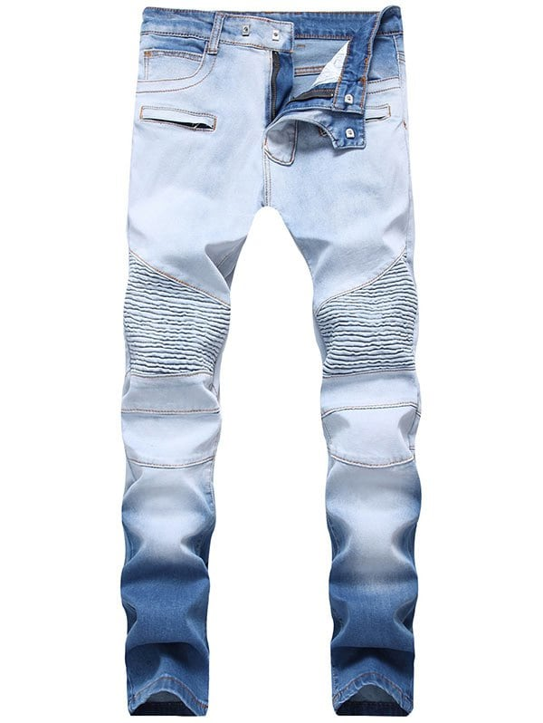 Unique Hook Button Skinny Ombre Biker Jeans