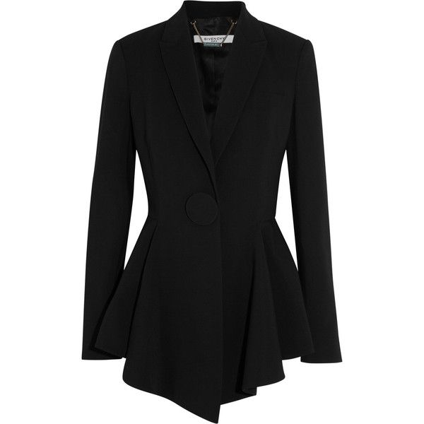 Givenchy Peplum blazer in stretch-crepe found on Polyvore featuring  outerwear, jackets, blazers, blazer, black, givenchy, black blazer, black peplum  jacket,