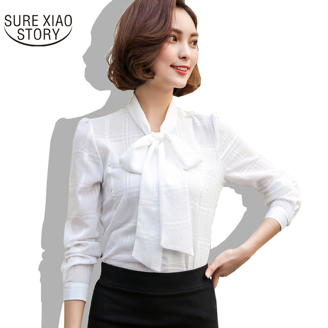 2017 summer Long-Sleeved Women Blouse Bow Tie with Shirt Chiffon Blouse  Clothes Tops 68B