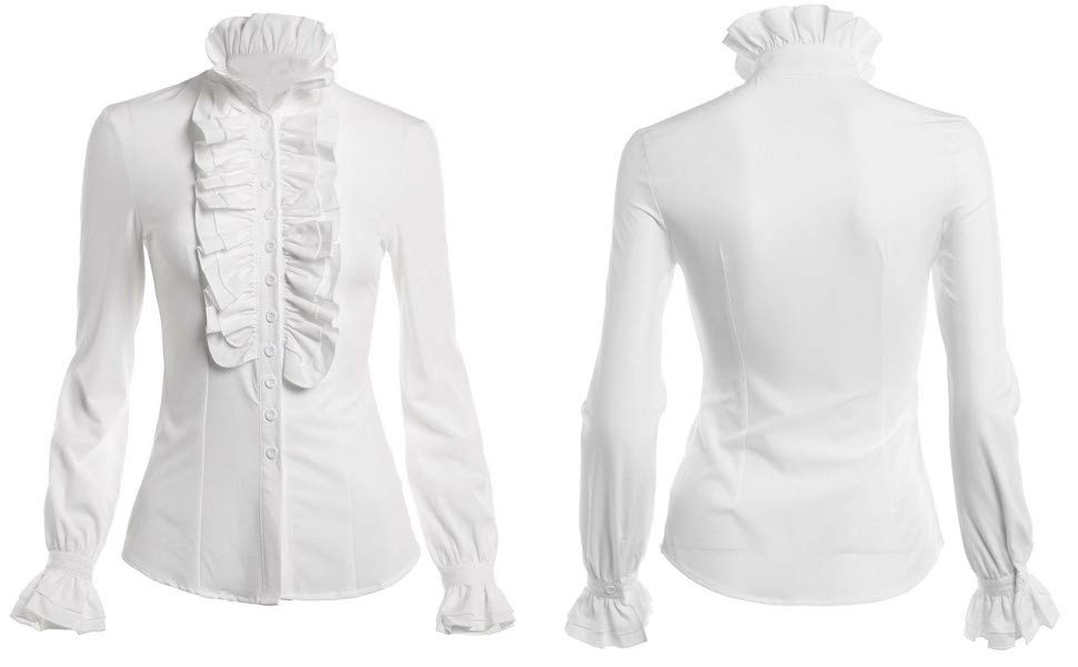 Women Stand-Up Collar Lotus Ruffle Shirts Blouse
