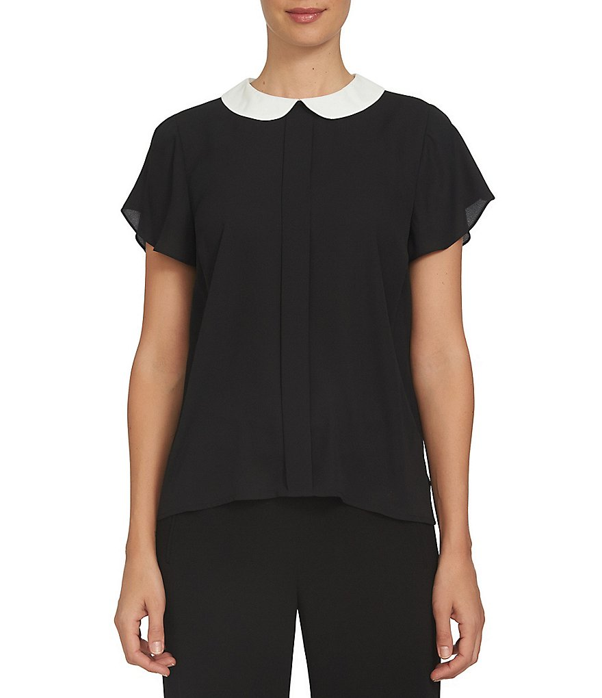 CeCe Short Sleeve Contrast Peter Pan Collar Blouse