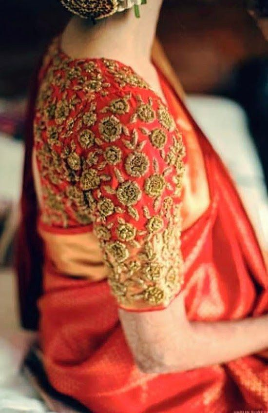 Red Pattu Saree Blouse With Golden Embroidery