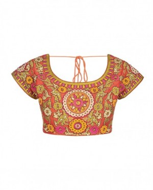 Rust orange blouse with embroidery