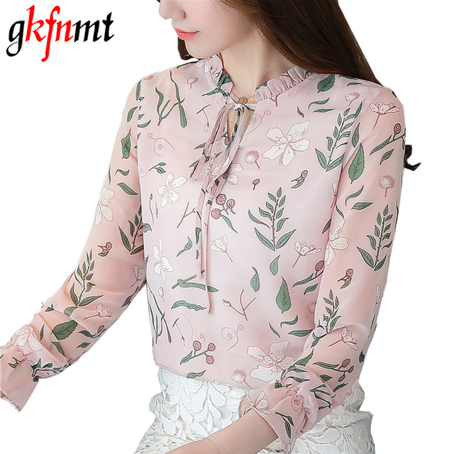 Gkfnmt Women Print Floral Blouses Shirts 2018 V-Neck Bow Casual Chiffon Tops  Women OL