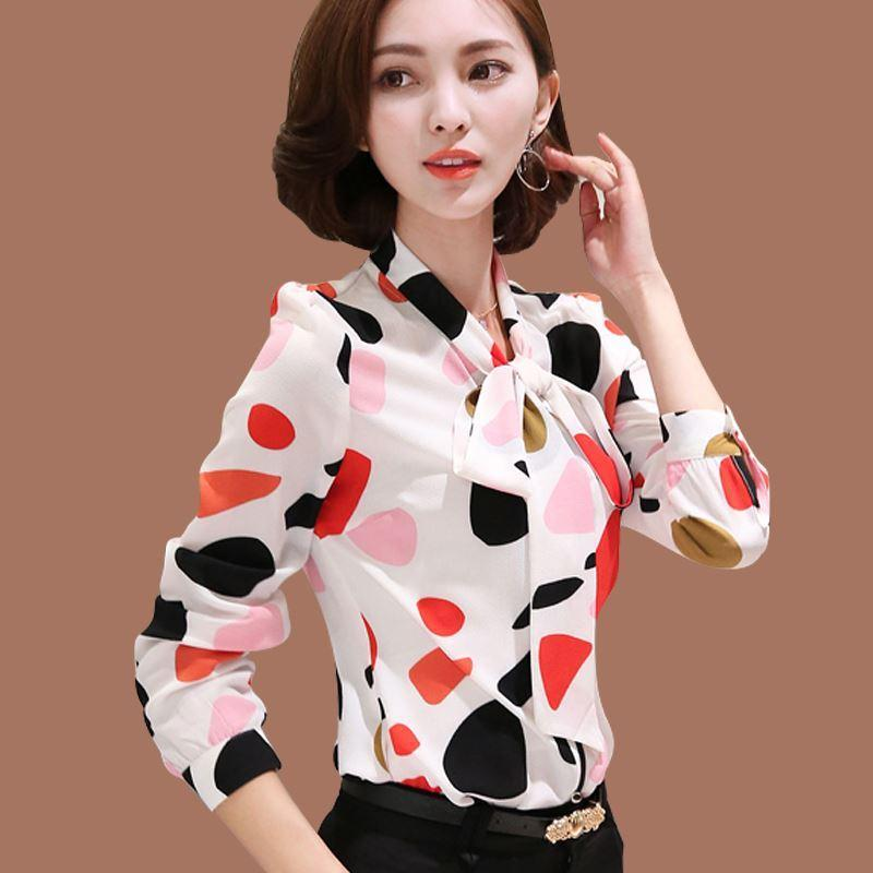 2019 Work Wear Office Shirt Women Tops Floral Bow Pattern Geometric Print  Chiffon Blouses And Shirts Women Clothing Chemise Femme From Sunmiss,