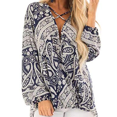 Womens Blouses,Boho Chiffon Blouse Tee Bandage Tank Ethnic Floral Pattern  Tunic Tops Clothes Axchongery