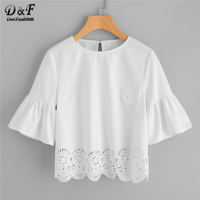 2019 Dotfashion Trumpet Sleeve Scallop Laser Cut Tops 2018 Summer Round  Neck Half Sleeve White Blouse Woman Cut Out Button Blouse From Cactuse,