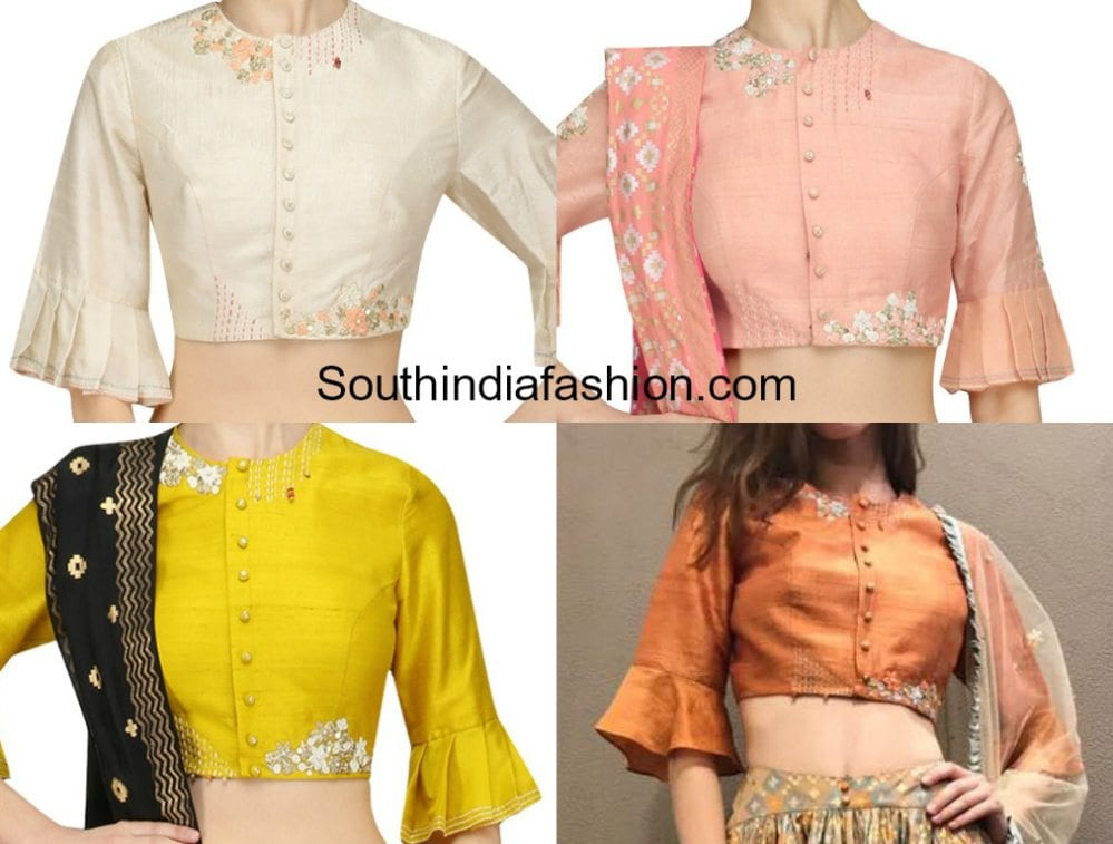 bell sleeves saree blouse designs ruffle saleeves saree blouse patterns  ruffle saree blouse designs for sarees