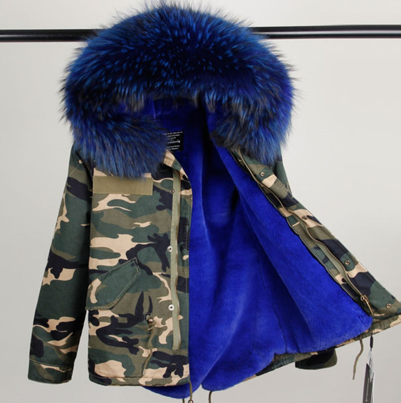 Blue Parka for Women with Huge Very Soft Hood with Raccoon Fur Camouflage  Parkas