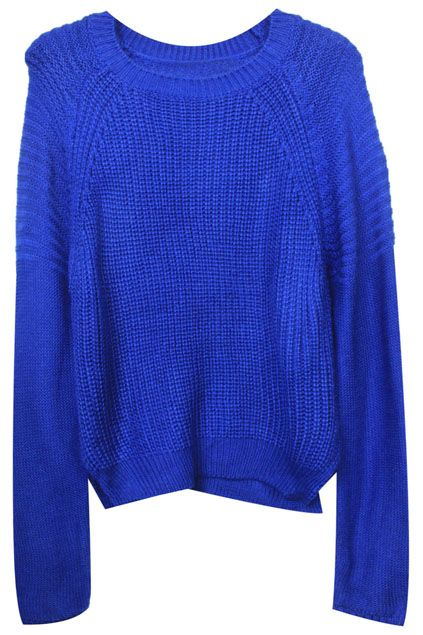 Split Hem Wave Knitted Blue Jumper | Fashionista | Blue sweaters, Royal blue  sweater, Blue dresses