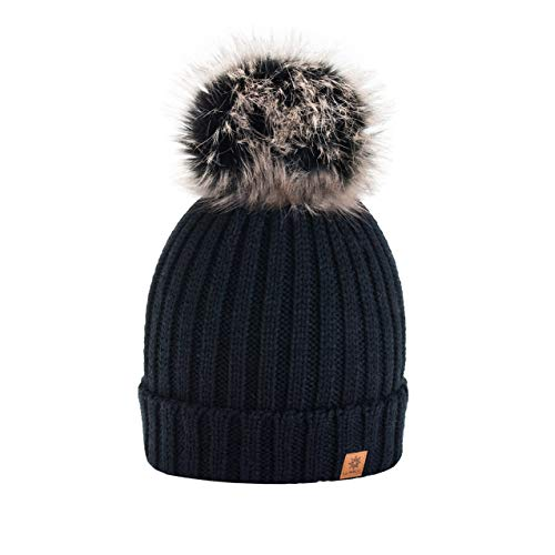 4sold Rita Womens Girls Winter Hat Wool Knitted Beanie with Large Pom Pom  Cap SKI Snowboard