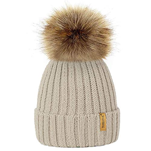 TOSKATOK®Womens Winter Rib Knitted Hat/Beanie with Detachable Chunky Faux  Fur Bobble Pom
