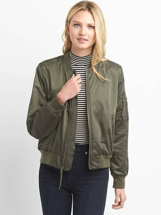 Womens Nylon Bomber Jacket Black Moss