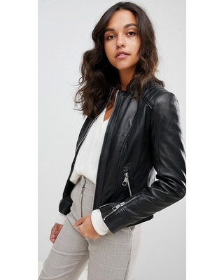 Boss Casual collarless leather jacket - Black