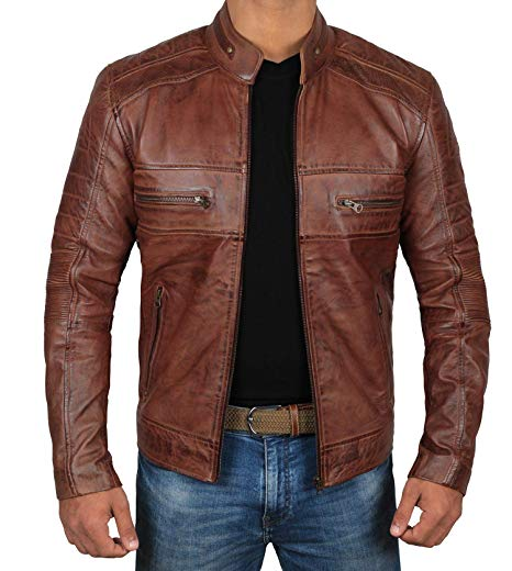 Brown Leather Jacket Mens - Cafe Racer Real Lambskin Leather
