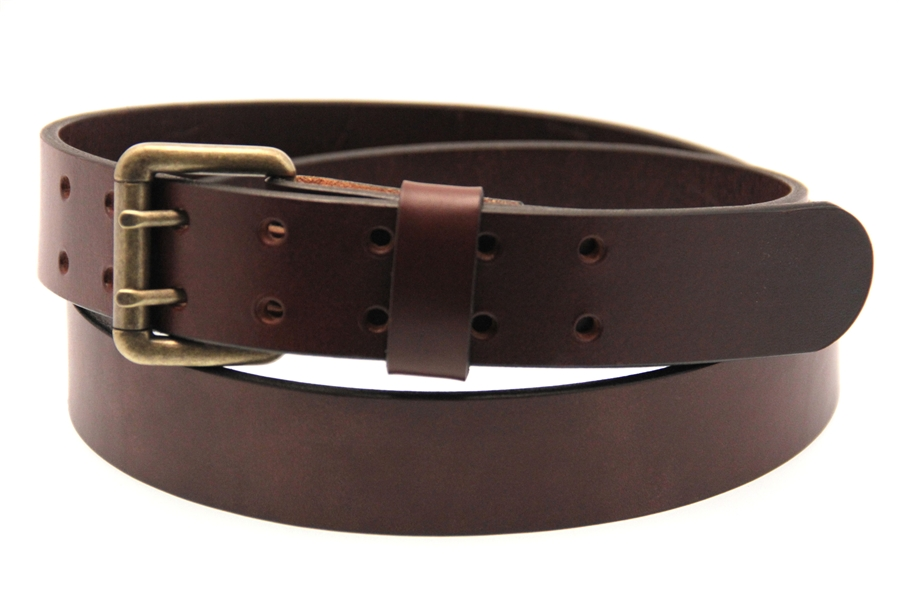 Brown Harness Double Hole Leather Belt Larger Photo Email A Friend