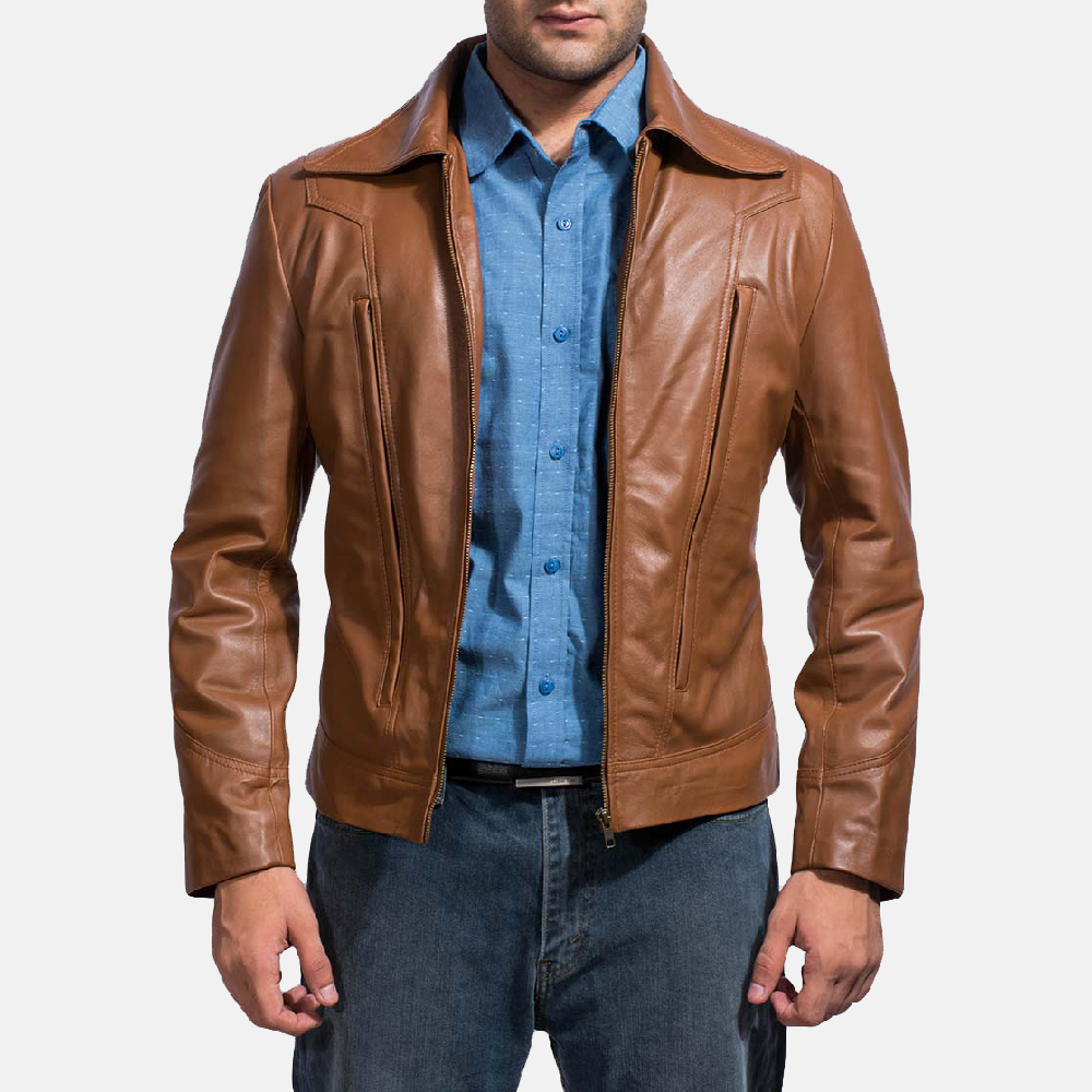 Mens Old School Brown Leather Jacket 1