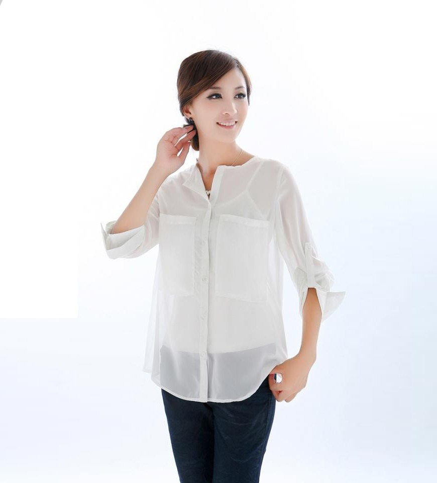 Double Pockets White Chiffon Shirt @ Womens shirts & blouse:women shirts, cheap button down shirts,long