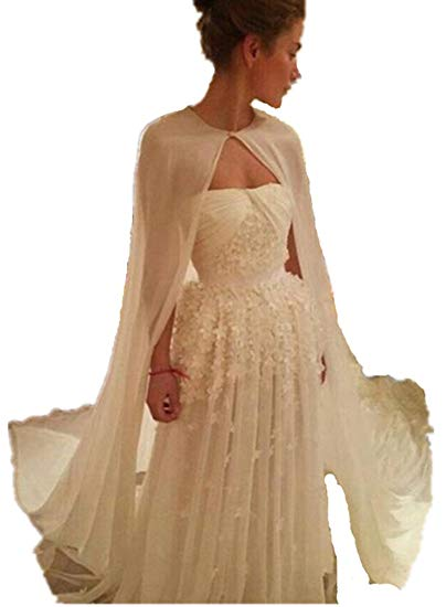 Traveller Location: Formaldresses Chiffon One Layer Wedding Cape Simple Elegant  Bridal Jacket without Sleeve Cheap Boleros (One Size, Black): Clothing
