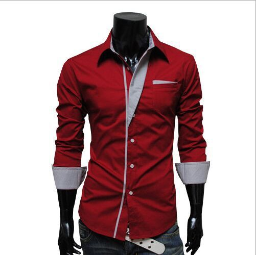 2015 Free Shipping Red/Black/Navy blue/white Shirts Fashion Long-Sleeved