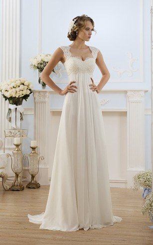 Cap-Sleeve Lace Chiffon Long A-Line Keyhole Gown