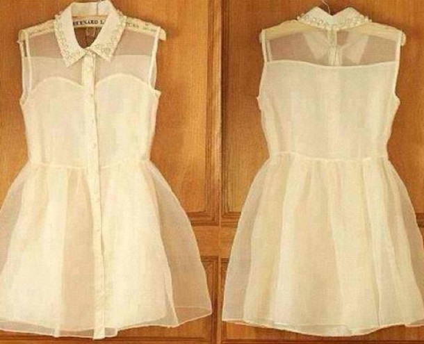 dress studded collar clothes collar white dress white sleeveless sleeveless  dress