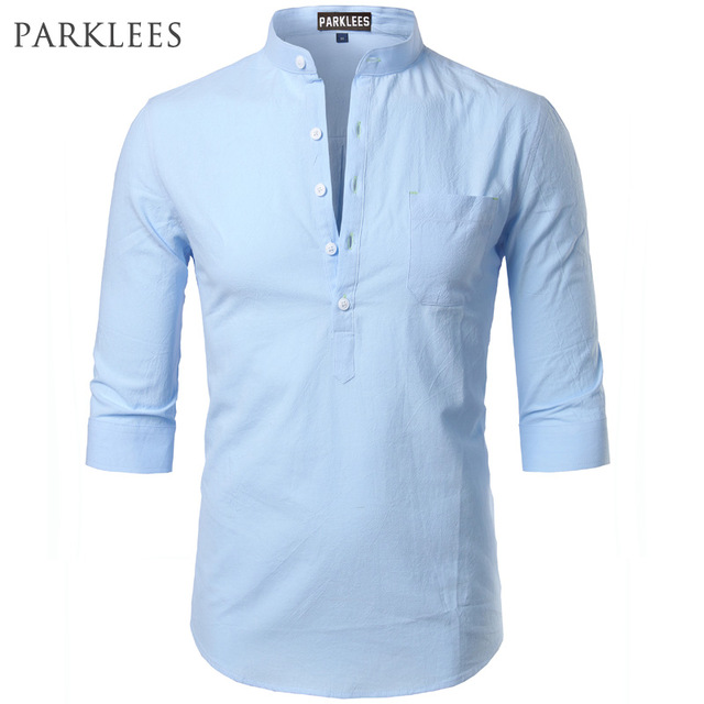 Fashion Cotton Linen Shirt Men Clothes Casual Slim Fit Mens Shirts Stand  Collar Summer Short Sleeve