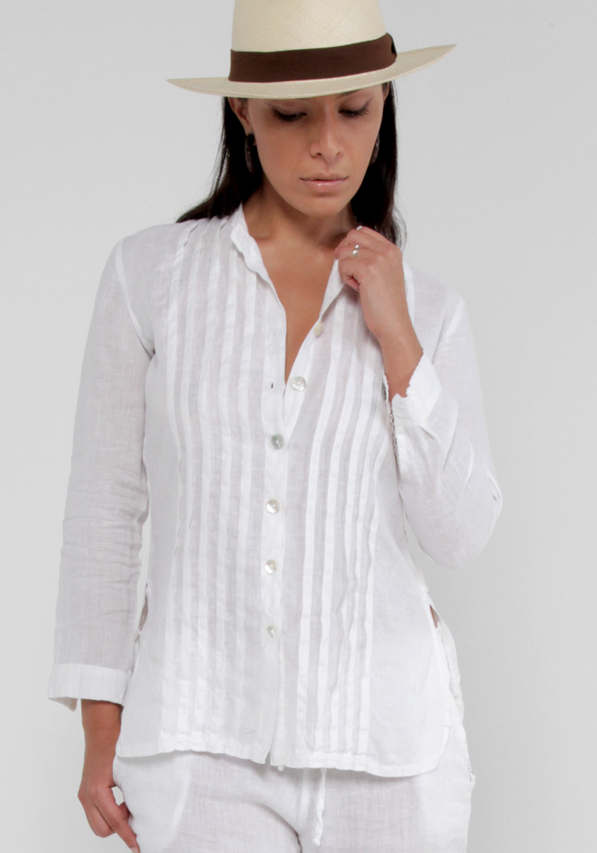 White Linen Button Down Shirt with Pleats