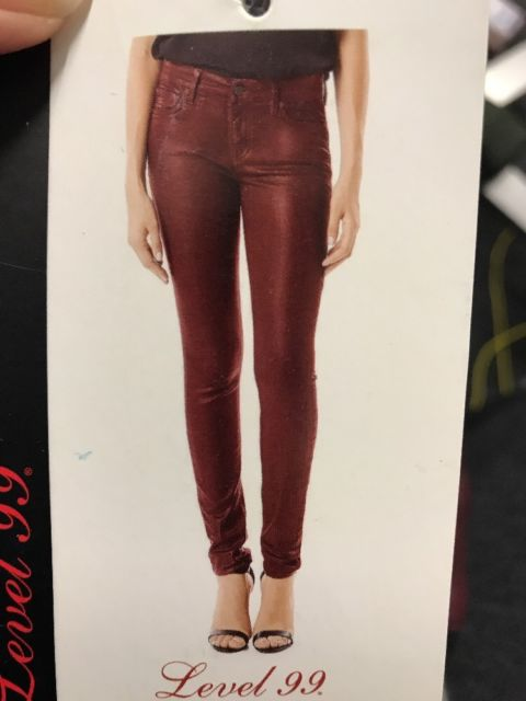 Level 99 Womens Stretch Mid Rise Coated Skinny Jeans. Size 30/10