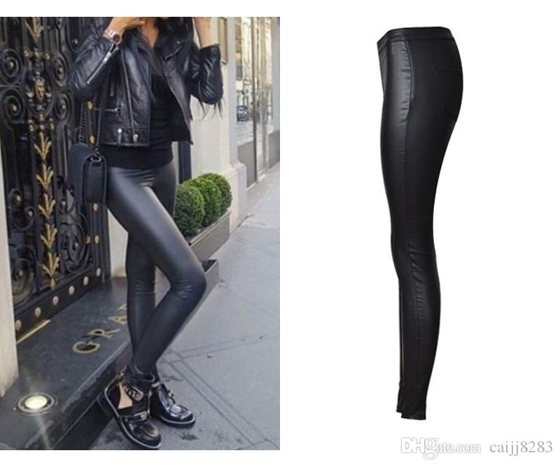 2017 Hot Popular Women Cloth Black Long Coated Jeans Wild Girl Motorcycle  Model Jeans Imitation Leather Pencil Pants Denim Jeans