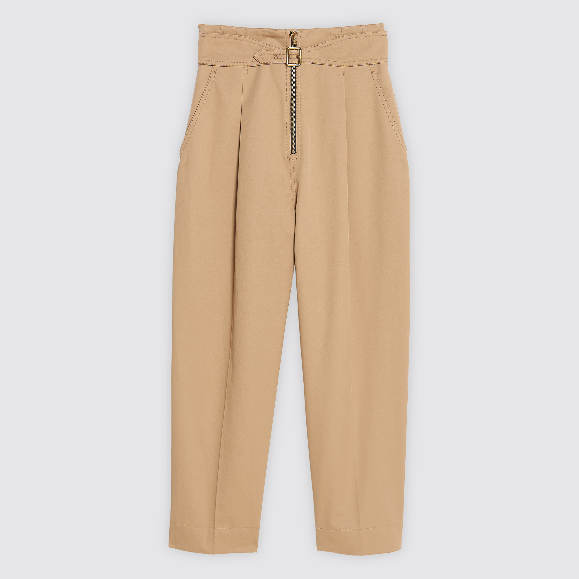 Zipped cotton trousers with belt : Pants & Shorts color Beige