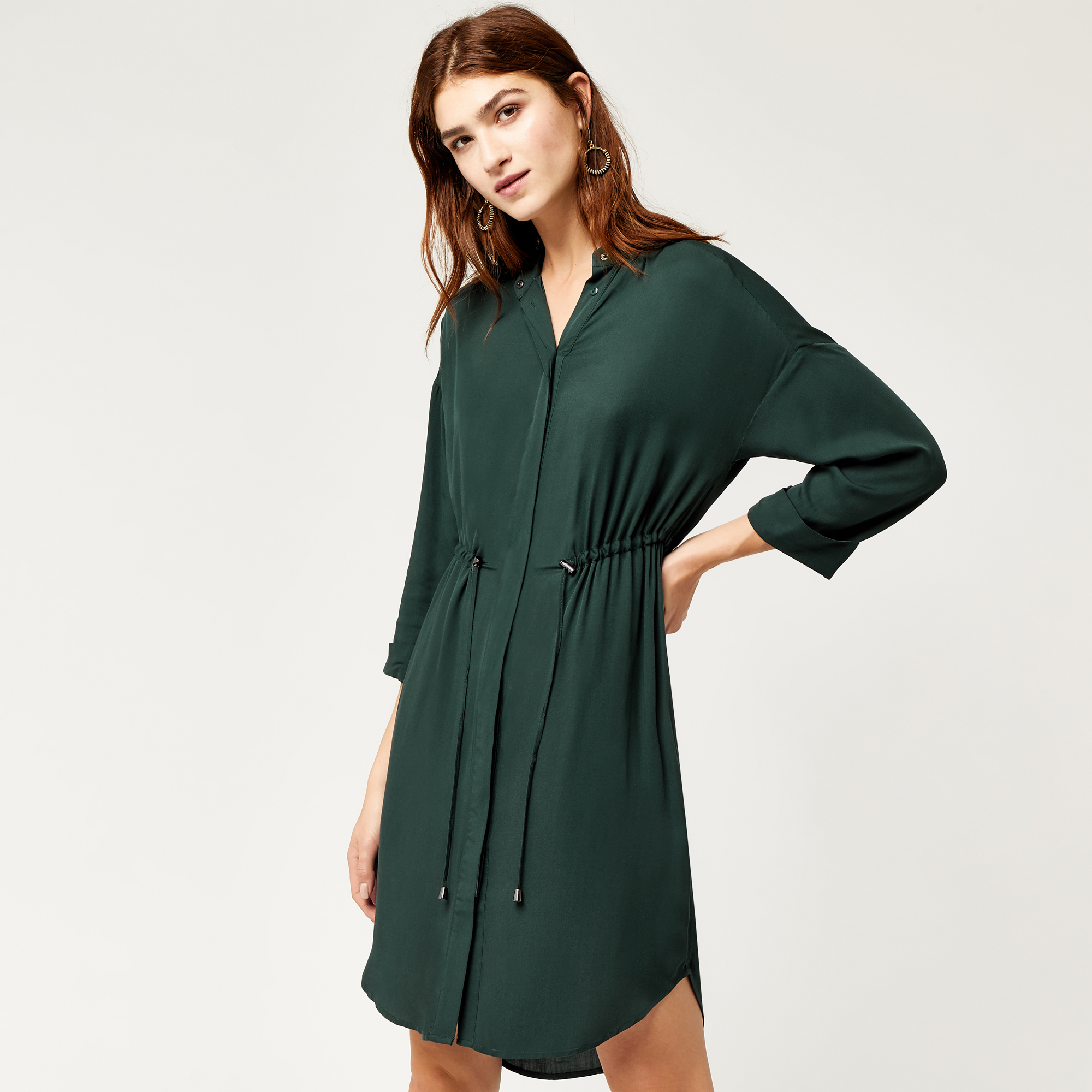 Warehouse, DRAWSTRING SHIRT DRESS Bright Green 1